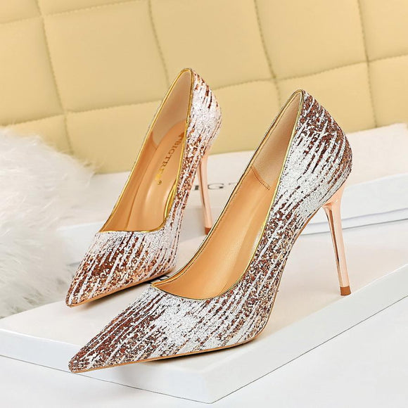 Women's Glitter Stiletto Heels Pointed Toe High Heels Pump Shoes