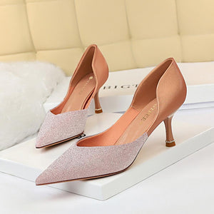 Womens Shiny Pointed Toe Cutout Wine Glass Heel Bridal Shoes