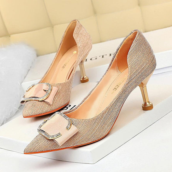 Womens Shine Crystal Buckle Pointed Toe Kitten Heel Party Bridal Pumps