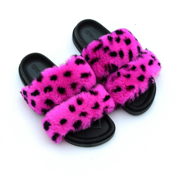 New Women's Faux Fur Cute Dots Open Toe House Slippers Two Band Soft Slides
