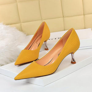 Womens Solid Pointed Toe Kitten Heel Party Bridal Pumps