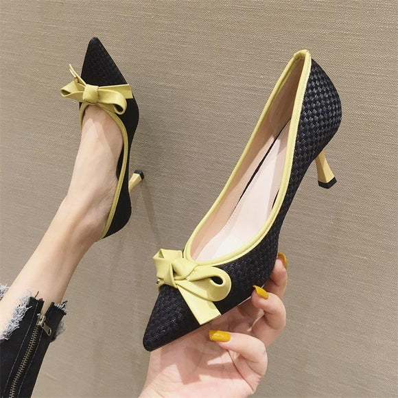 Girls Color Block Bowknot Pointed Toe Kitten Heel Shoes