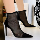 Fashion Hollow Out Mesh Pointed Toe Stiletto Heel Zipper Closure Mid Calf Boots For Women