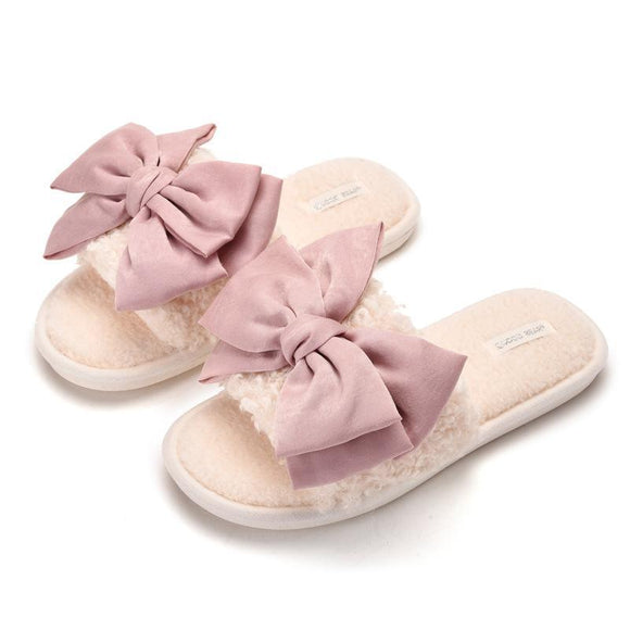 New Women's open toe bowknot Soft Plush Fleece House Slippers