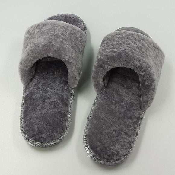 New Women's Pure Sheep Wool Open Toe House Slippers  Indoor Outdoor