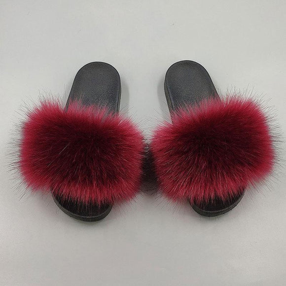 New Women's Faux Fur Open Toe House Slippers Fluffy Slide Indoor Outdoor