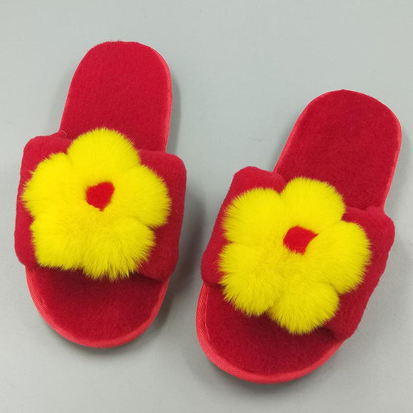 New Women's Pure Sheep Wool Open Toe Flower House Slippers  Indoor Outdoor