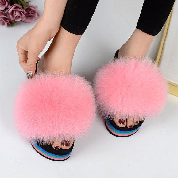 New Women's Pure Sheep Wool Open Toe House Slippers Fluffy Slide Indoor Outdoor