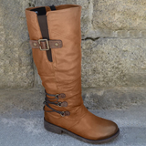 Fashion Cavalier Martin Leather Knee High Boots with Buckle Closure