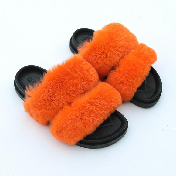 New Women's Faux Fur Open Toe House Slippers Two Band Soft Slides