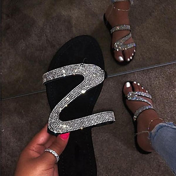 Rhinestone Round-toe Slip-on Flip Flops Slides Sandals