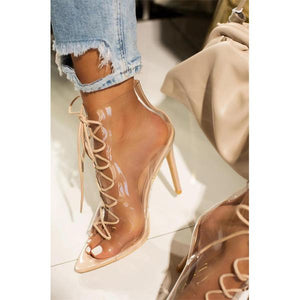 Clear Pvc Lace Up Strappy Gladiator Stilettos Dress Sandals