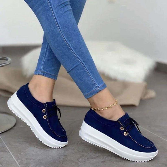 Womens Suede Wedge Increased Shoes Breathable Slip On Loafers