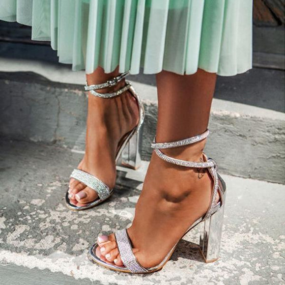Rhinestone Strapy Chunky Heel Evening Party Sandals With Ankle Buckle
