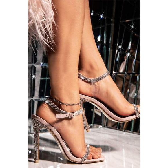 Glittering Rhinestone Stilettos Bridal Sandals With Ankle Buckle