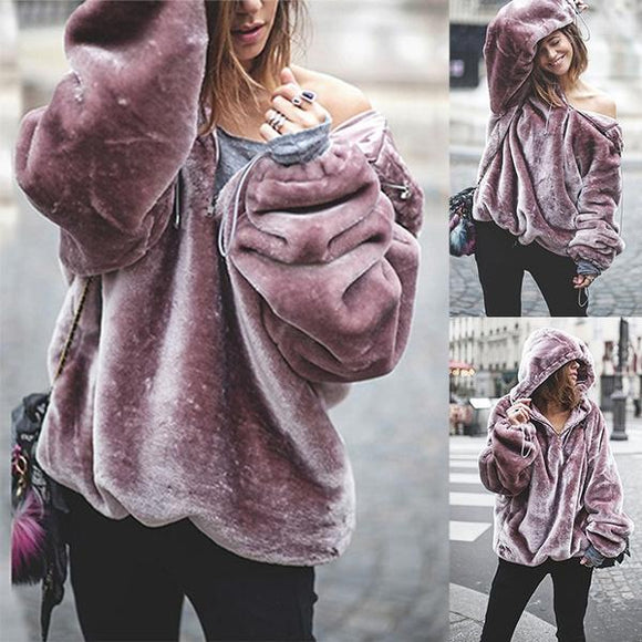 Women's Fashion Autumn Winter Purple Velvet Keep Warm Fleece Outerwear Fashion Hoodies