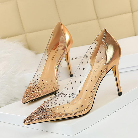 New Transparent Pointed Toe Shiny Stiletto Heels Bridal Party Shoes For Women