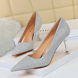 New Shiny Pointed Toe Stiletto Heels Bridal Party Shoes For Women