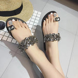 Women's Fashion Diamond Sequin Flat Slides Shoes