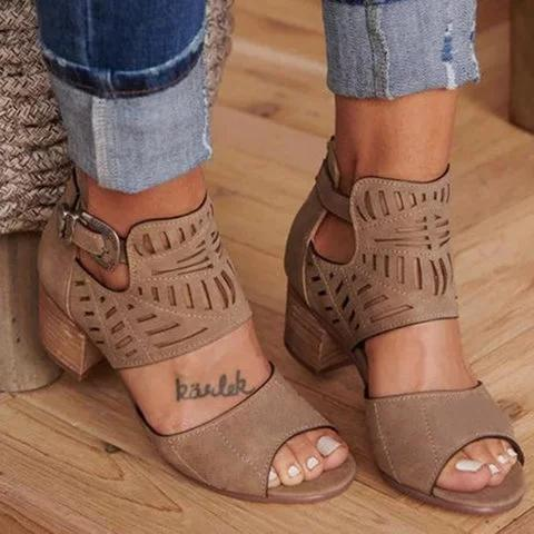 Adjustable Ankle Strap Gladiator Hollow Out Chunky Heel Sandals