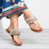 Bohemia Style Falbala Buckle Closure T-strap Thong Sandals