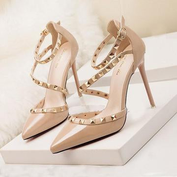 Womens Fashion Pointed Toe Stiletto Heel Sandals with Rivet Party Bridal Shoes