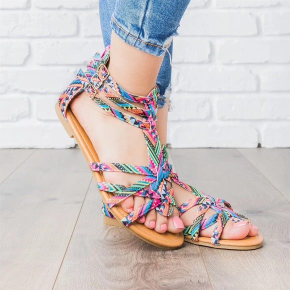 Boho Style Multicolor Gladiator Shoes with Zipper Flat Sandals