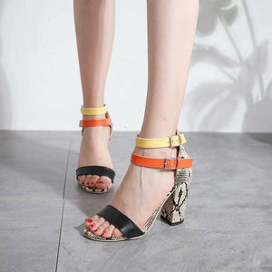 Snakeskin Print Open Toe Chunky Heel Sandals with Buckle