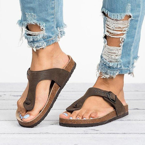 Buckle Closure Flip Flops Slides Shoes