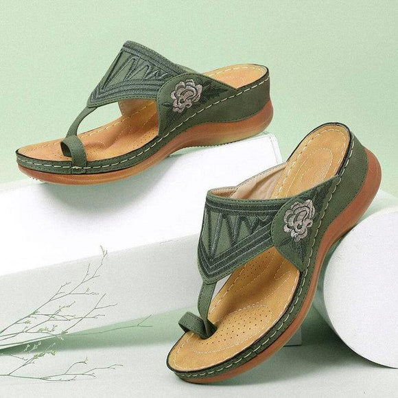 Embroidered Wedge Sandals Flip Flops Slides Shoes
