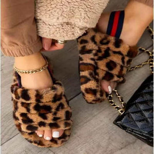 Women's Leopard Faux Fur Open Toe Fluffy Elastic Strap Slide Sleeper