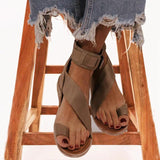 Womens Summer Clip Toe Flat Sandals with Buckle