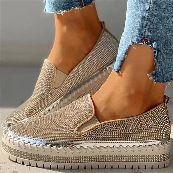 Rhinestone Shallow Pointed Platform Loafers