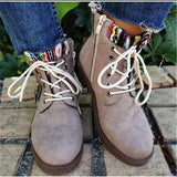 Fashion Color Block Woolen Split Joint Lace Up Ankle Boots
