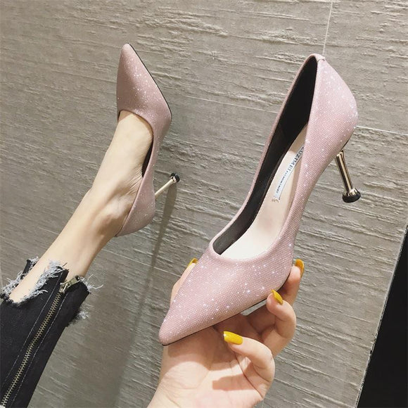 Womens Shiny Pointed Toe Stiletto Heel Pump Bridal Party Shoes
