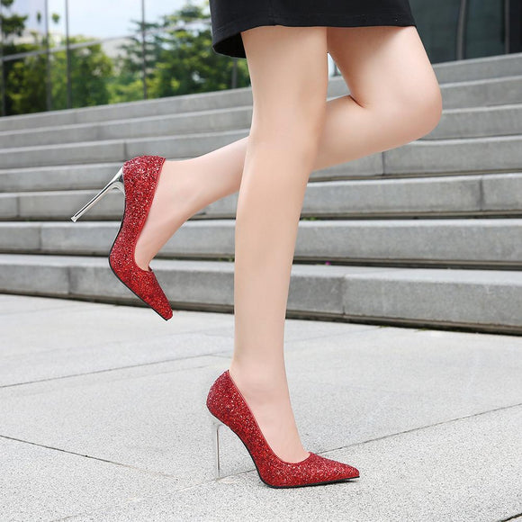 Fashion Womens Plus Size Solid Pointed Toe Stiletto Heel Bridal Pumps