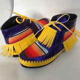 Fashion New Gradient Colorful Block Tassels Slip-On Flat Heel Ankle Boots For Women