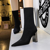 Fashion Woolen Pointed Toe Metal Chunky Heel Mid Calf Boots