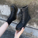 Fashion Womens PU Martins Boots Chunky Heels Lace Up Combat Boots