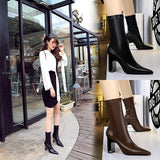 Fashion PU Pointed Toe Metal Chunky Heel Mid Calf Boots For Women