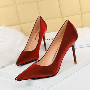 Womens Satin Metal Pointed Toe Stiletto Heel Party Bridal Pumps