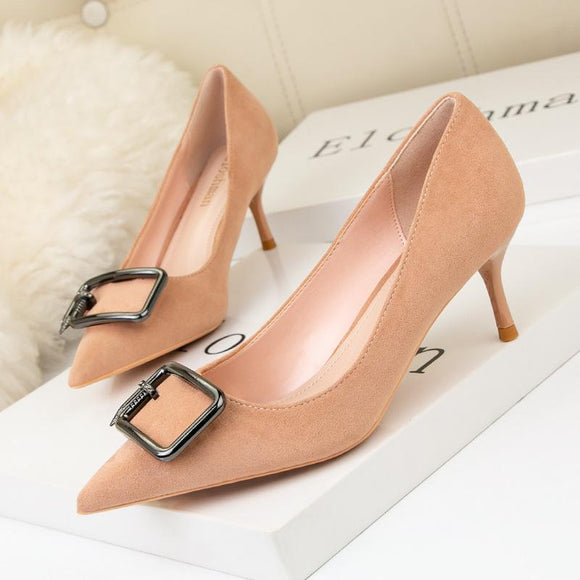 Women's Metal Button Pointed Toe Stiletto Heel Bridal Dress Shoes