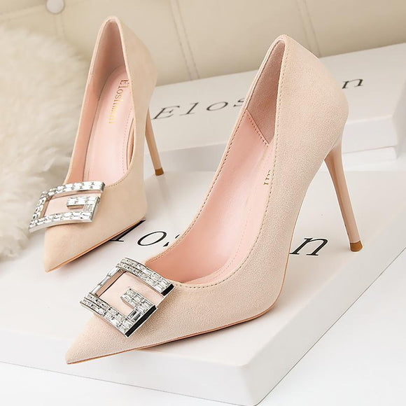Women's Crystal Button Pointed Toe Stiletto Heel Bridal Dress Shoes
