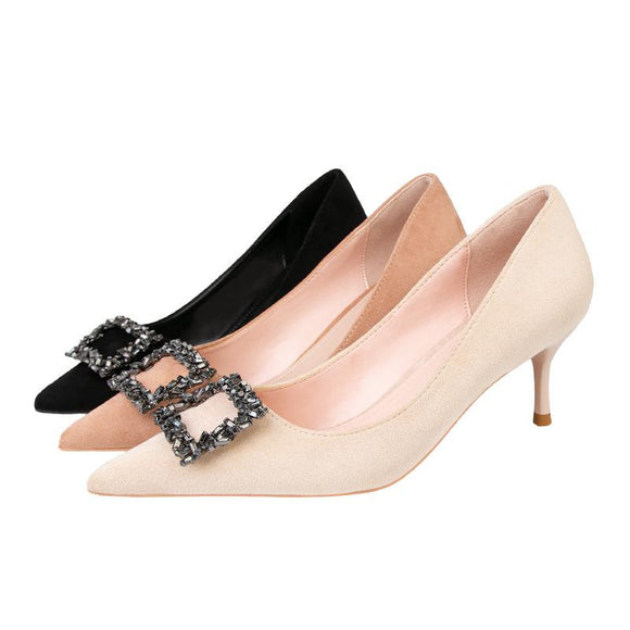 Women's Suede Crystal Buckle Pointed Toe Stiletto Heel Bridal Party Shoes.