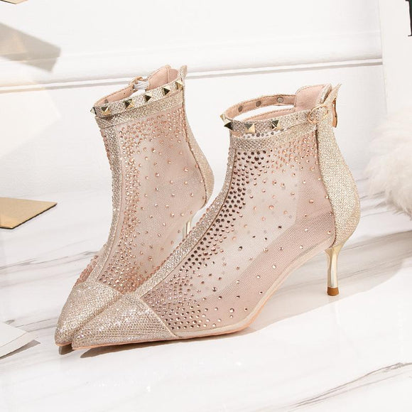 Fashion Sheer Mesh Rhinestone Pointed Toe Kitten Heel Buckle Ankle Boots With Rivet