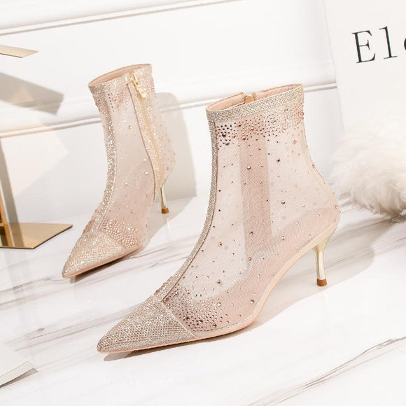 Fashion Sheer Mesh Rhinestone Pointed Toe Kitten Heel Ankle Boots With Zipper