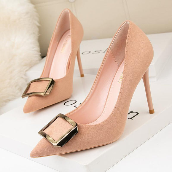Women's Suede Metal Square Buckle Pointed Toe Stiletto Heel Bridal Party Shoes