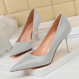 New Shiny Pointed Toe Slip-On Stiletto Heel Bridal Party Shoes