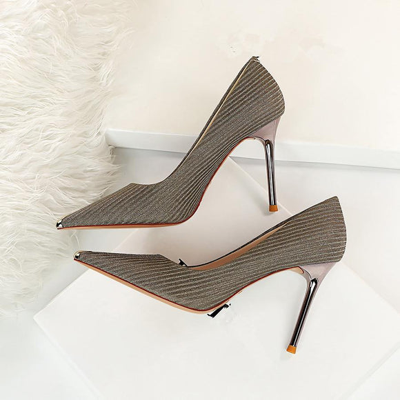 Shiny Slip-On Pointed Toe Stiletto Heel Bridal Party Shoes For Women