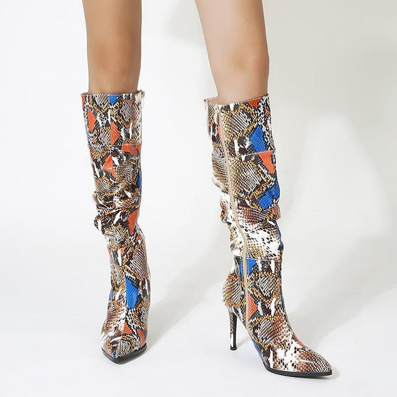 Fashion Fashion Girls Colorful Snakeskin Printed Pointed Toe Stiletto Heel Knee High Boots